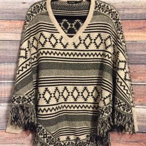 Nordstrom Blu pepper aztec fringe poncho sweater